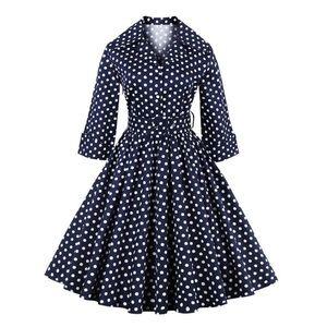 Dresses & Skirts - Blue polka dot vintage style dress
